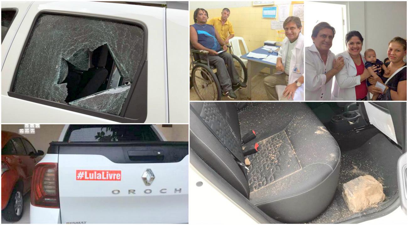 Motoqueiro pró-Bolsonaro atira pedra em caminhonete só porque tinha na carroceria o adesivo #LulaLivre