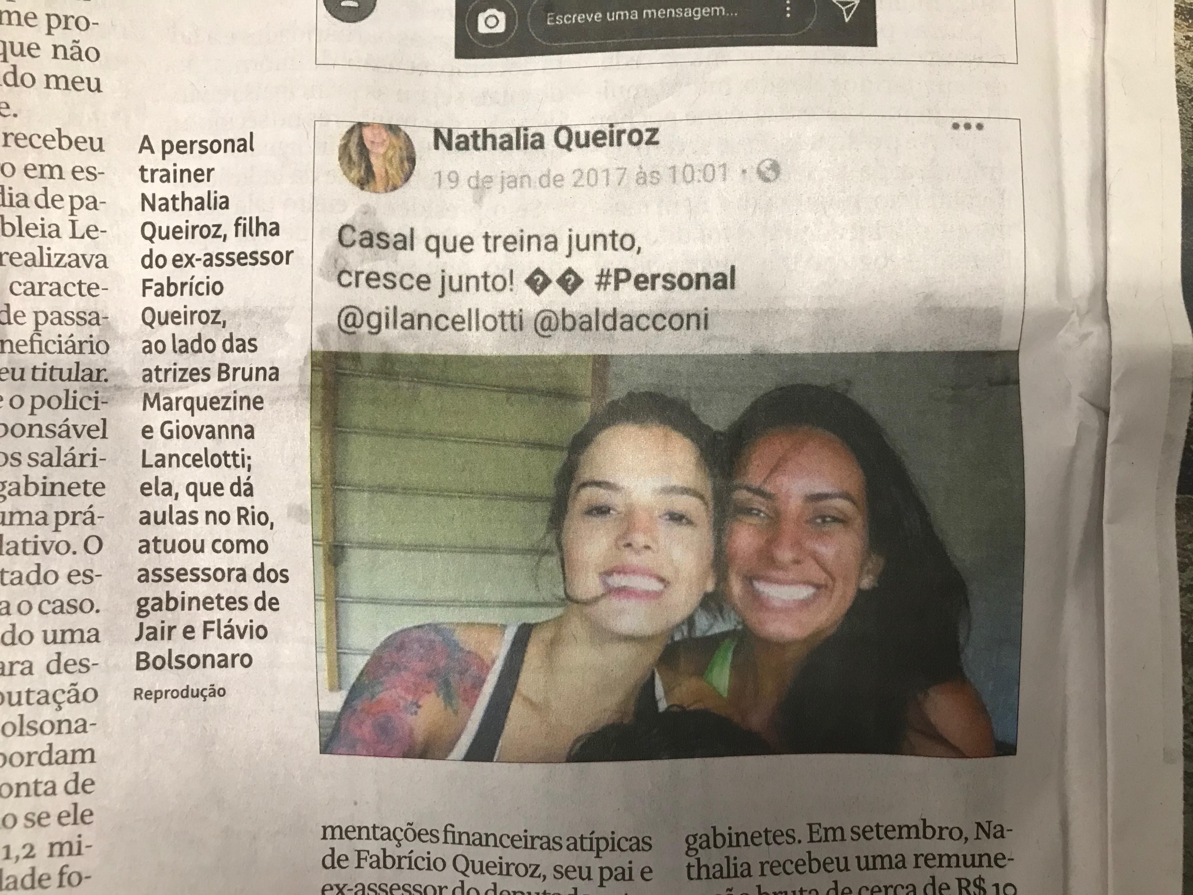 Nathalia apagou a conta no Instagram. Mais um indício de que ela, que transferiu quase 100% do salário para o pai, tem muito a esconder sobre o laranjal dos Bolsonaro