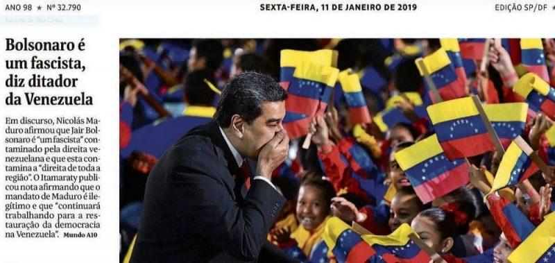 Blog questiona manchete da Folha: Se Maduro é ditador, Bolsonaro o que é?