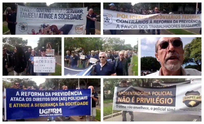 Em Porto Alegre, polícias Civil e Federal na rua contra a reforma da Previdência; veja vídeo