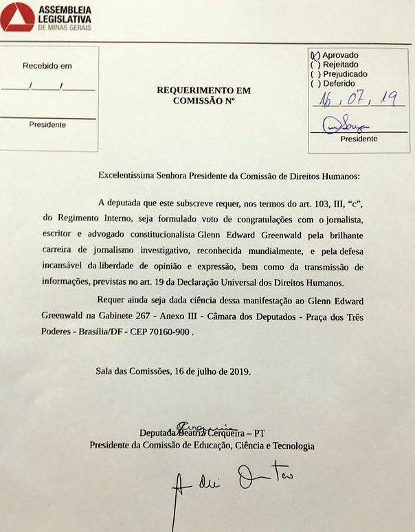 Beatriz Cerqueira: Assembleia congratula-se com Glenn por desnudar a corrupção do Judiciário