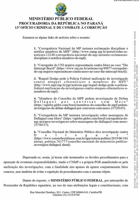 PGR arquiva pedido para investigar Moro, Deltan, Tessler, Santos Lima e Gerum; decisão de 25 de junho, só hoje informada a Coletivo