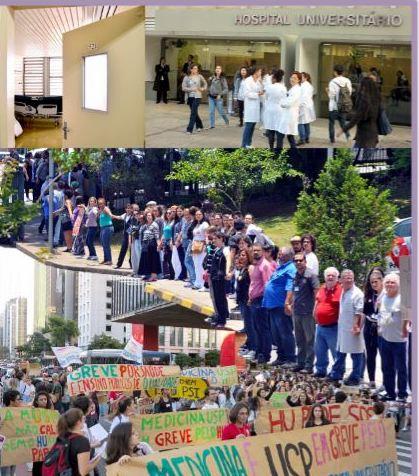 """Contra o desmonte do Hospital Universitário da USP, ato hoje a partir das 17h: """"Não podemos assistir parados""""; vídeos"""