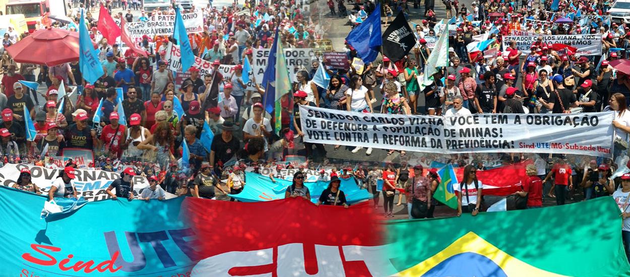 Contra a destruição do Brasil por Bolsonaro e de MG, por Zema, trabalhadores da educação param; vídeo e fotos