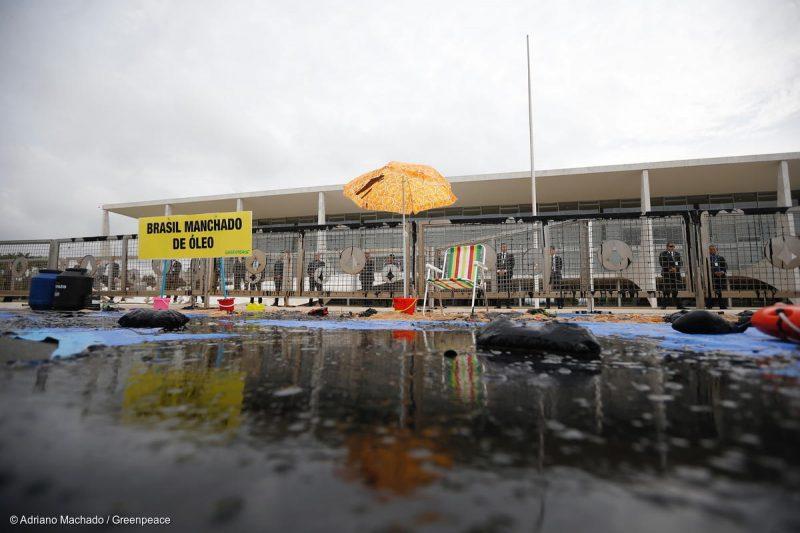 Greenpeace protesta na frente do Palácio do Planalto contra a destruição ambiental pelo governo Bolsonaro; vídeo e fotos