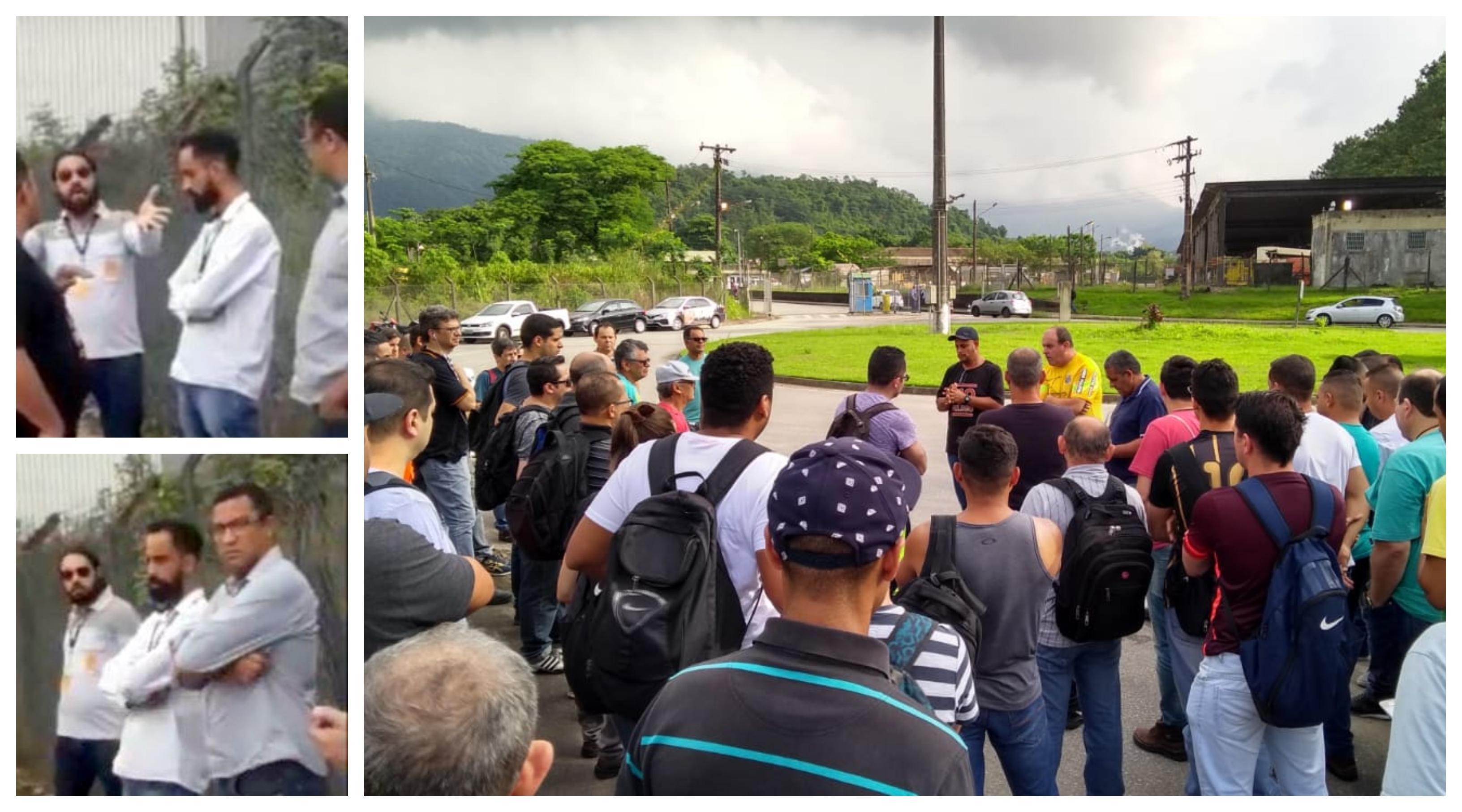 Em Cubatão, empreiteiro força entrada de petroleiros em greve e acusa sindicalistas de cobrar propina; eles o desafiam a provar; vídeo