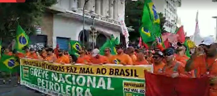 Petroleiros em greve: Como foi o ato unificado no Rio de Janeiro