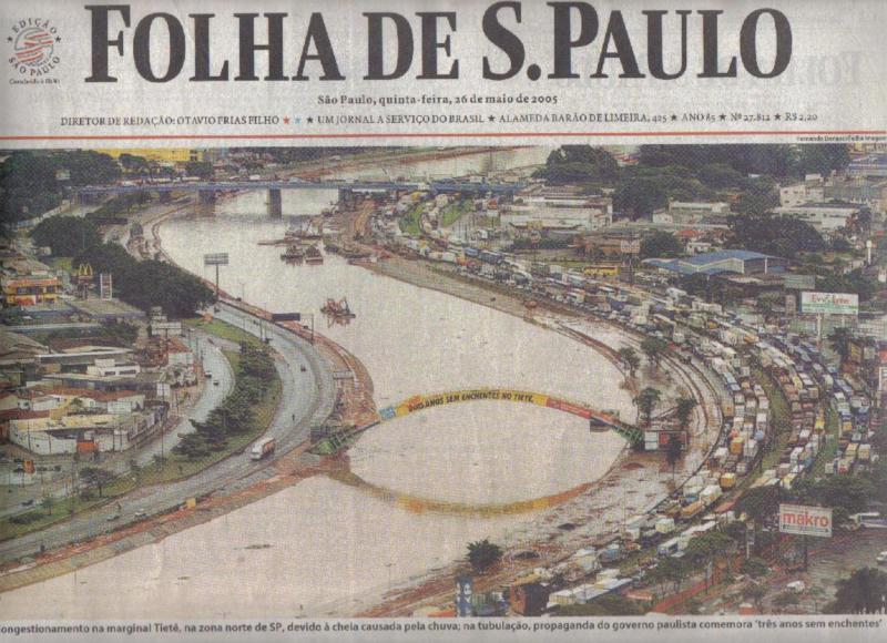 Governo paulista ficou três anos sem limpar o Tietê
