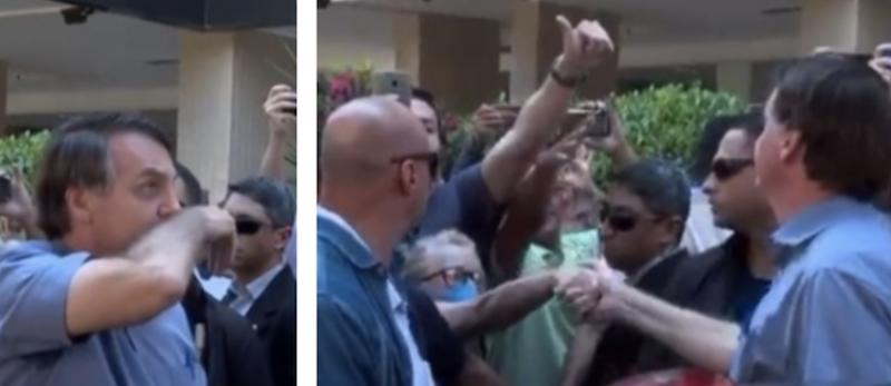 Em mais um passeio do coronavírus, Bolsonaro esfrega o nariz e aperta a mão de idosa mascarada; vídeo