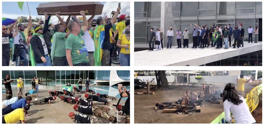 Manifestação pró-Bolsonaro teve churrasco, carreata, faixas idênticas, funeral e pedido para criminalizar o comunismo; vídeos