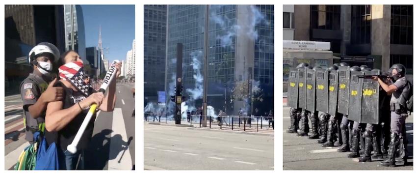 """PM paulista """"protege"""" bolsonarista com taco de beisebol, mas atira bombas em antifascistas; vídeos"""