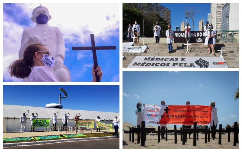 Atos em homenagem aos profissionais de saúde em todo o Brasil; vídeos e fotos