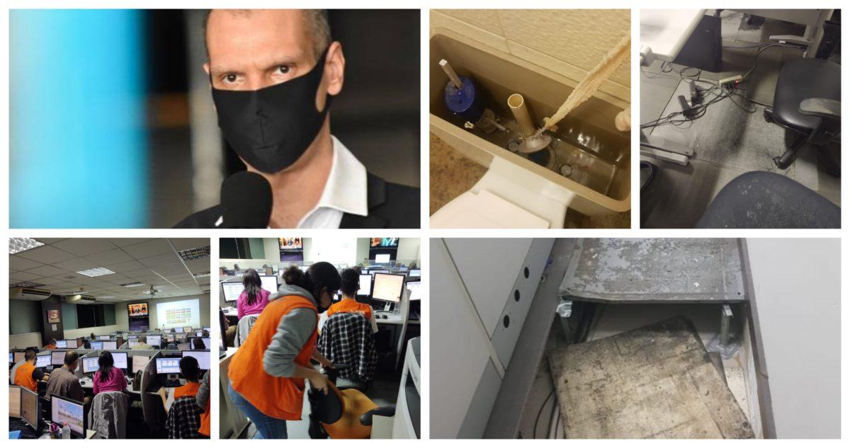 Sindicato denuncia: Covas põe em risco profissionais da Central do SAMU; juntados em 2 salas insalubres, nem máscara recebem; vídeo e fotos