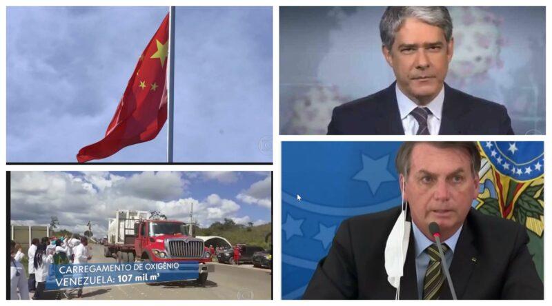 Eliara Santana: Com bandeira vermelha da China e caminhão de oxigênio da Venezuela, JN sinaliza que Bolsonaro subiu no telhado