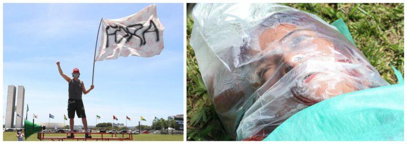 A performance de artistas e o buzinaço pelas mortes causadas por descaso do governo Bolsonaro; fotos e vídeos