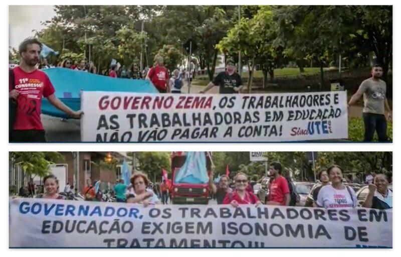 Sind-UTE/MG pede a Zema que pague salário integral,  13º e piso; vídeo