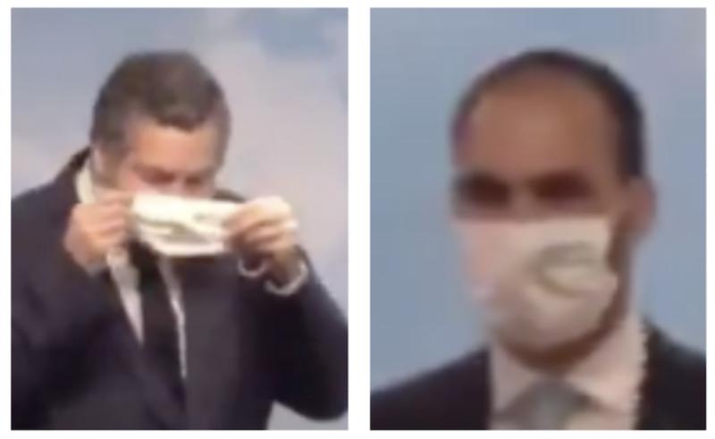 Israel força chanceler a usar máscara e Eduardo Bolsonaro a se distanciar, mesmo querendo usar Brasil para testar spray nasal
