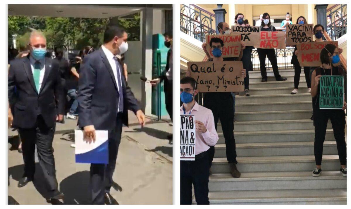 """Estudantes de Medicina da USP """"recepcionam"""" Queiroga: """"Bolsonaro genocida! Mais vacina e menos cloroquina!""""; vídeo e fotos"""