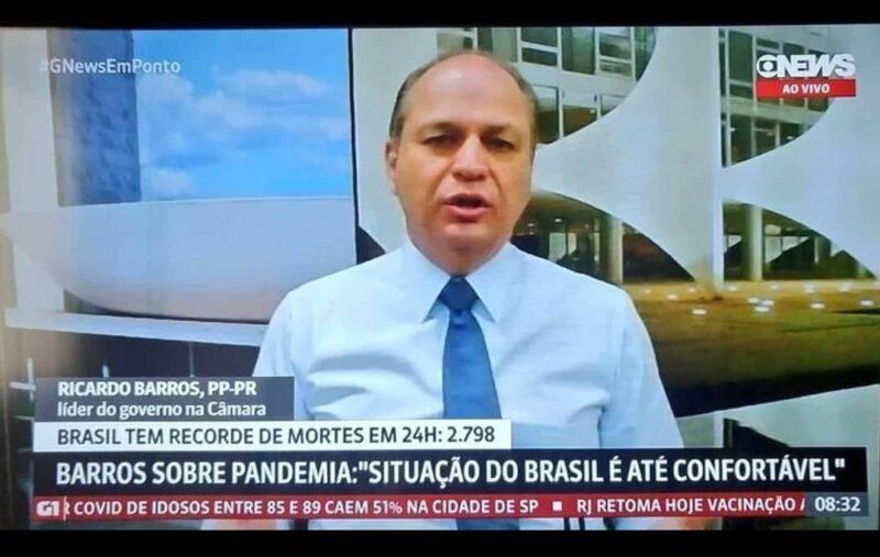 Jornalista desmascara Ricardo Barros, líder do governo: há 641 pessoas na fila da UTI no Paraná