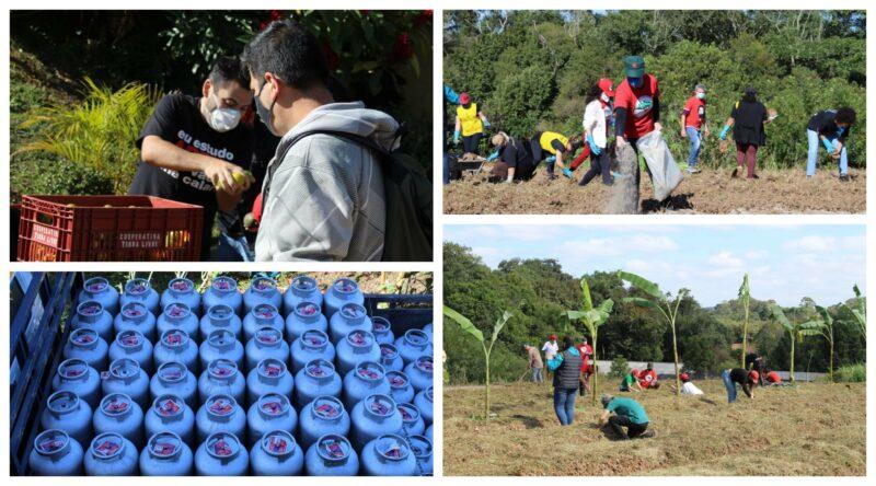 Em Curitiba, no 1º de Maio, MST, sindicatos e coletivos doam alimentos, gás e inauguram agrofloresta
