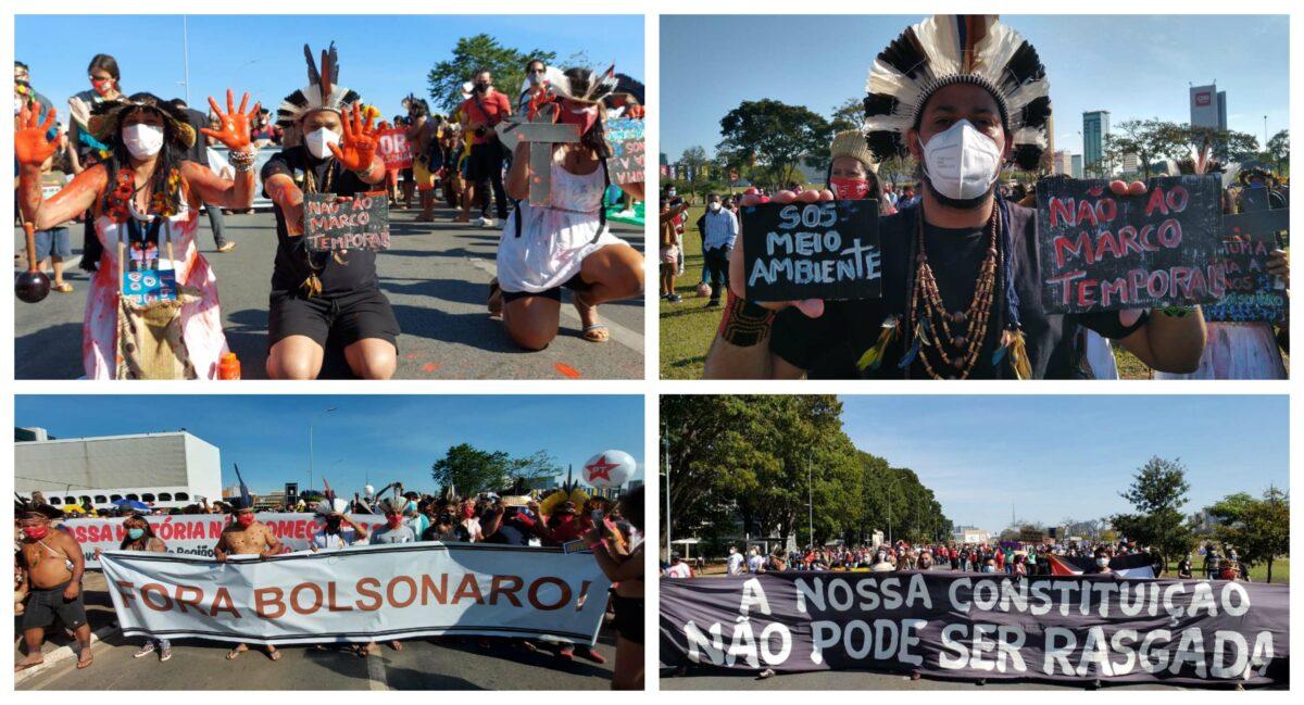Em Brasília, indígenas do Levante pela Terra juntam-se aos protestos do 19J que superam todas as expectativas; vídeos