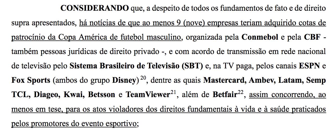 Investigação do MPF afugenta dois patrocinadores da Copa América, mas SBT, Disney e outros ainda podem ser responsabilizados