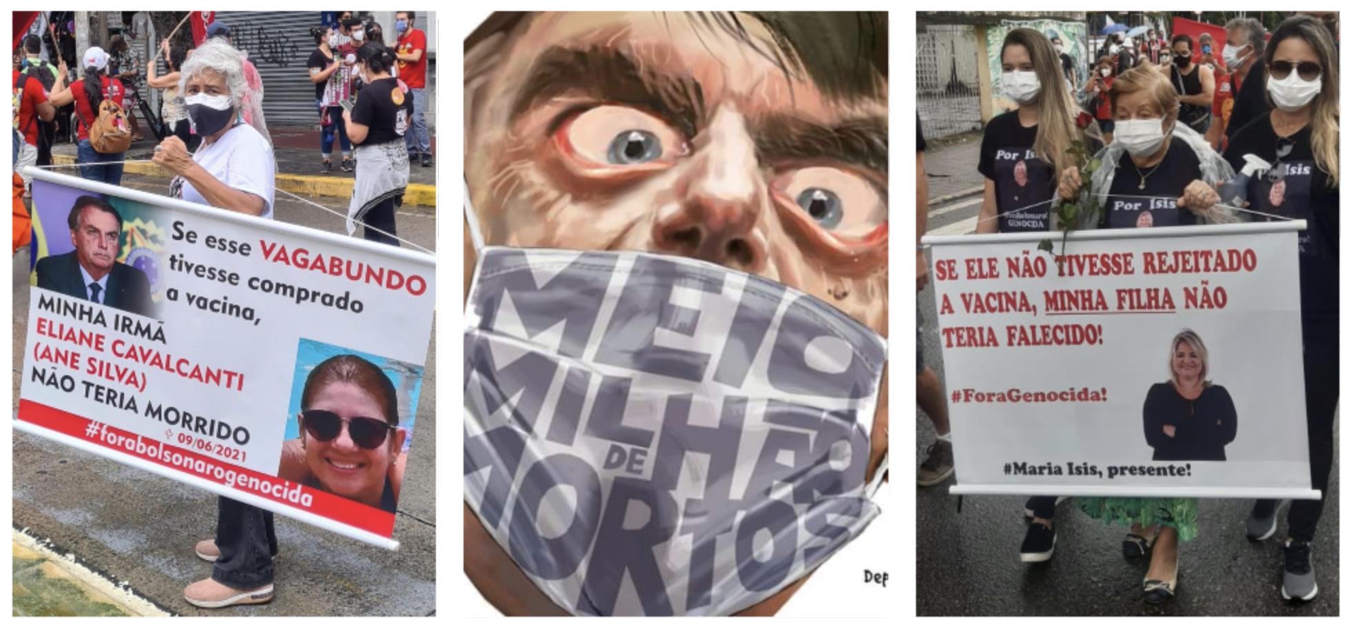 Brasil atinge 500 mil mortos por covid e parentes protestam contra Bolsonaro nas ruas; vídeos