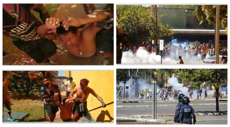 Polícia ataca com spray de pimenta e bombas de efeito moral indígenas que protestavam contra PL 490 no estacionamento da Câmara; vídeos