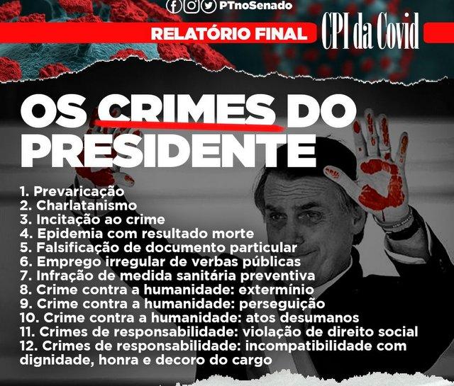"""Relatório da CPI aponta 12 crimes praticados por Bolsonaro na pandemia: """"Significam 50 a 150 anos de prisão"""", diz Humberto Costa"""