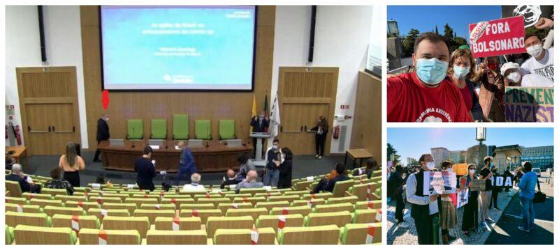 Para fugir de manifestações em Lisboa, Queiroga faz palestra online, às escondidas em auditório vazio; coletivos protestam